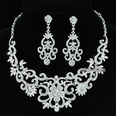 Wedding Party Vintage Style Queen Crystal Necklace Earrings Set AS1183
