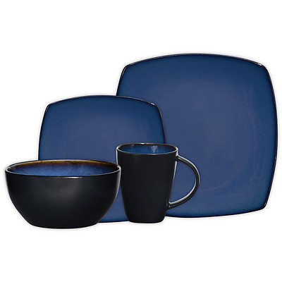 Gibson Home Soho Lounge Square 16-Piece Dinnerware Set, Blue, Service for 4