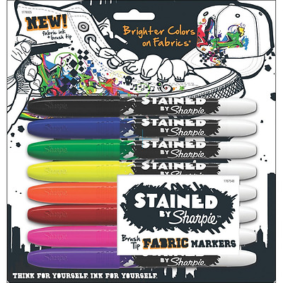 Sharpie STAINED Marker Permanent, Brush Tip Fabric Marker, 8-Carded, Assorted In