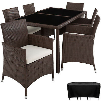 Ensemble Salon de jardin en résine tressée poly rotin 6 chaises table set marron