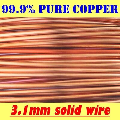 1 MT 3.1MM 99.9% PURE SOLID UNCOATED COPPER WIRE, 3.1mm = 8G AWG = 10G SWG