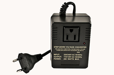 VCT VM 200 Deluxe Step Down Voltage Converter for Travel to 220V/240V Countries-