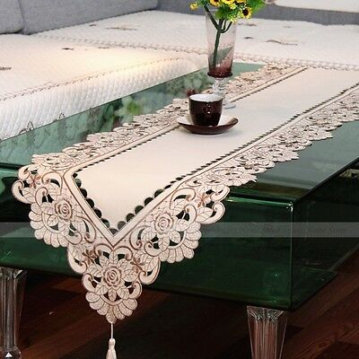 Retro Table Runner Embroidered Flowers Cutwork Design for Wedding Party Decor