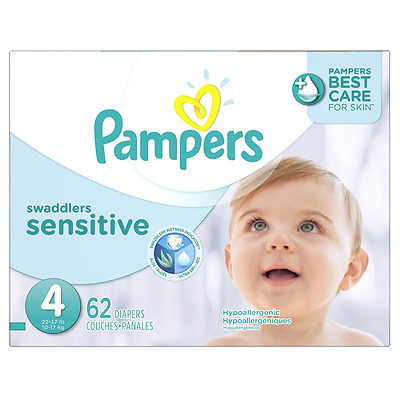 Pampers Swaddlers Sensitive Diapers Super Pack Size-4, 62-Count
