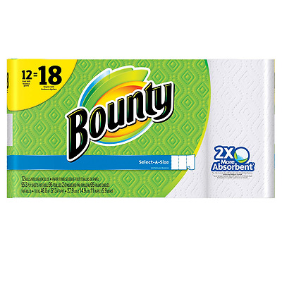 Bounty Select-A-Size Paper Towels, White, 12 Giant Rolls