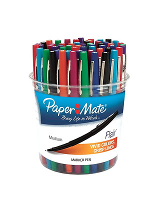 Paper Mate Flair Point Guard Marker Porous, Nylon Tip Pen Medium, 48-Canister, A
