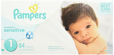 Pampers Swaddlers Sensitive Diapers Super Pack Size-1, 84 Count