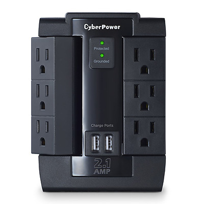 CyberPower CSP600WSU Surge Protector 6-AC Outlet Swivel with 2 USB (2.1A) Chargi