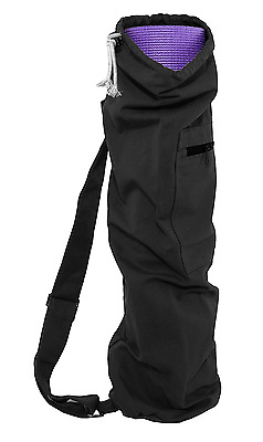 ProSource Yoga Mat Bag with Side Pocket and Cinch Top, 71 cm, Black