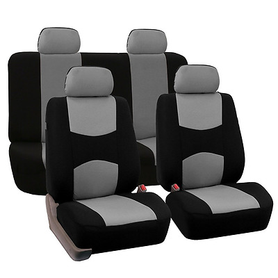 FH Group Universal Fit Full Set Flat Cloth Fabric Car Seat Cover, (Gray/Black) (