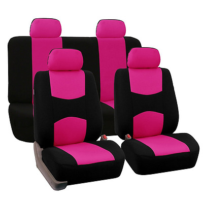 FH Group Universal Fit Full Set Flat Cloth Fabric Car Seat Cover, (Pink/Black) (
