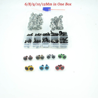 100pcs 6-12mm Black Plastic Safety Eyes for Bear, Doll, Puppet, Plush Animal and