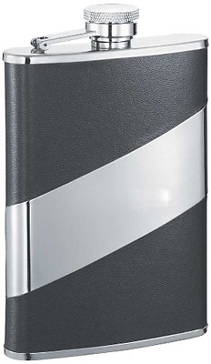 """Visol """"Descent"""" Leather Stainless Steel Flask, 8-Ounce, Black"""