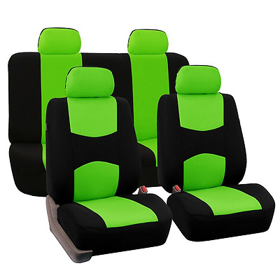 FH Group Universal Fit Full Set Flat Cloth Fabric Car Seat Cover, (Green/Black)
