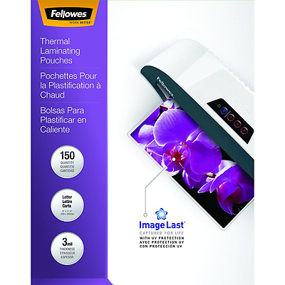 Fellowes Hot Laminating Pouches, Letter, 3 mil, 150 Per Pack (5200509)