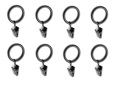 "(30 Total) Metal Curtain Rings with Clips (1.5"" Diameter) - Clip Rings for Curta"