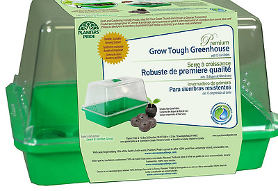 PLANTERS' PRIDE 15-Pellet Grow Tough Greenhouse with Pellets, Jungle Green