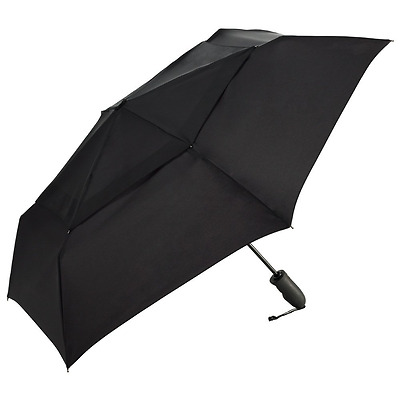 ShedRain Umbrellas Windjammer Vented Auto Open Auto Close Folding Umbrella, Blac