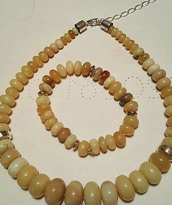 Namibian Yellow Opal Necklace and Stretch Bracelet by Jay King