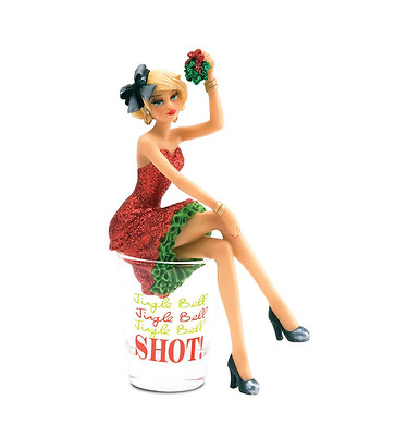 Hiccup by H2Z 73674 Jingle Bell Girl Figurine in Shot Glass, 6-Inch Tall