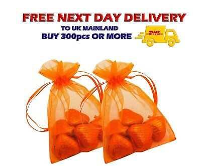 ORANGE ORGANZA Gift BAGS Jewellery Pouch Wedding Favour Candy XMas Luxury Decor