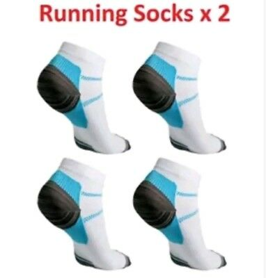 2 pairs of running compression ankle socks aid for plantar fascilitis size 6-11
