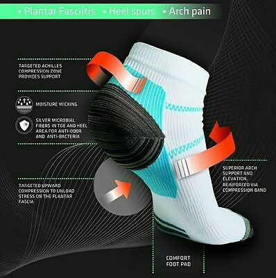 3 pairs of running/cycling compression socks aid for plantar fascilitis 6-11
