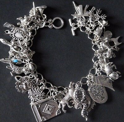 Pagan Wicca Silver Charm Bracelet Fully Loaded 46 charms Serpent Moon Bat Wolf