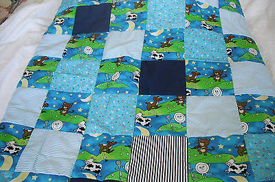 """Hand Made Nursery Rhyme """"hay Diddle Diddle""""patchwork Quilt Size 51"""" X 37""""new!"""
