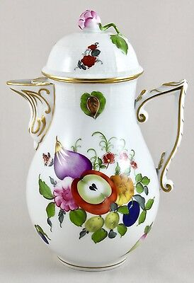 "Herend Porcelain Fruits & Flowers Bfr 8½"" Chocolate Pot/water Jug 482 1St Mint!"