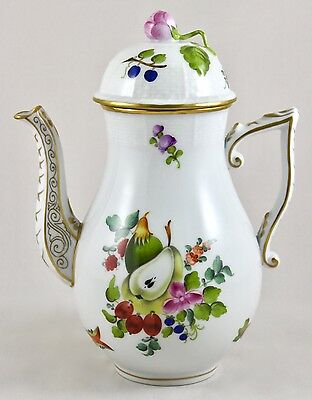 "Herend Porcelain Fruits & Flowers Bfr 8¼"" Coffee Pot 477 1St Mint!"