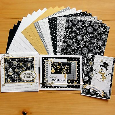 """snow Night"" Christmas Black Gold Card & Paper Pack Diy Cardmaking 20 Shts A5"