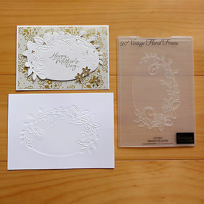 """COUTURE CREATIONS EMBOSSING FOLDER Vintage Floral Oval Frame 5x7 """"REDUCED"""" BNIP"""