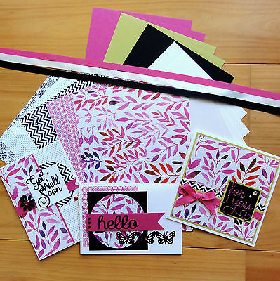 Pink Black Lime Designer Card Paper & Ribbon Pack Diy Cardmaking 20 Shts A5