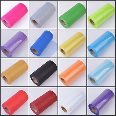 "6"" 25 Yards Glitter Sequin Tutu Tulle Roll Spool Wedding Bow Party Decor Craft"