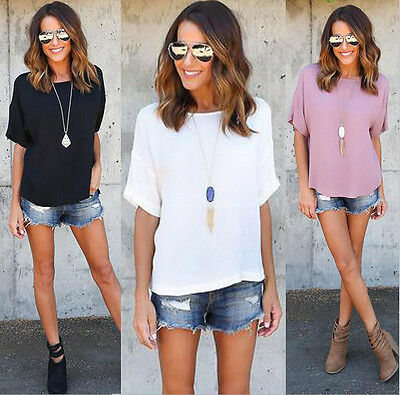 Womens Loose Casual Tops short sleeve T Shirt Blouse Ladies beach Top