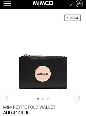 MIMCO Mim Petite Small Fold Wallet Purse Black Rose Gold Leather NEW RRP$149