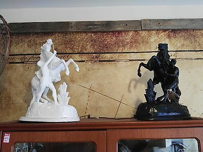 Pair of Victorian period Spelter of a Marly Horse after Coustou, French c.1870