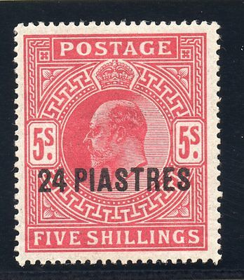 KEDVII British Levante sg34  5/- red with 24 Piastres overprint.