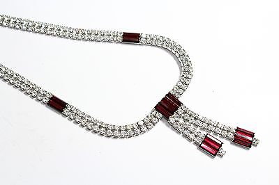 Vintage Red & Clear Sparkly Rhinestone Articulated Tassel Drop Necklace (c1960s)