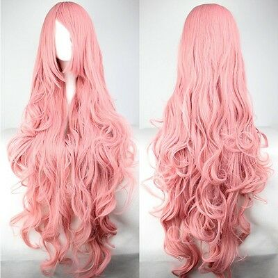 100cm Womens Lady Long Curly Wavy Hair Full Wigs Cosplay Party Costume Wig Pink