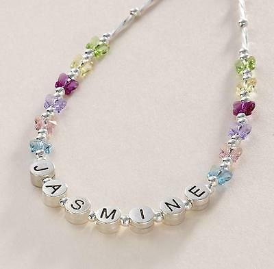Personalised Girls Necklace, Any Name, Bridesmaids. Multi Coloured Butterflies.
