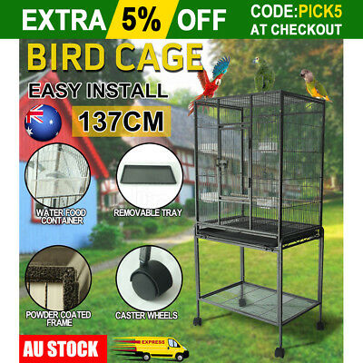 Parrot Aviary Bird Cage Stand Alone Budgie Perch Castor Wheels Large 137cm Black