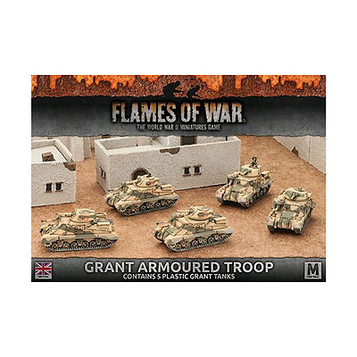 FoW-BBX37 - FLAMES of WAR: 15mm; Desert Rats Grant Armoured Troop (Plastic x5)