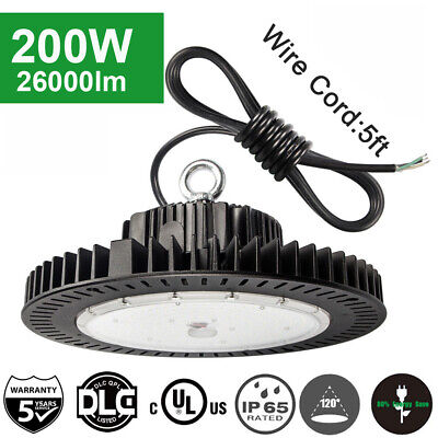 200W UFO LED High Bay Light Fixture Replace 1000W Warehouse Garage Lights 5700K