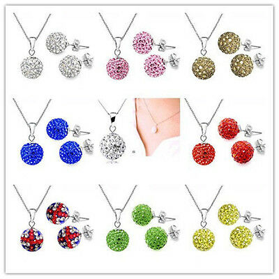 Jewelry Crystal 10mm Disco Ball Silver chain Necklace Earrings set +925box