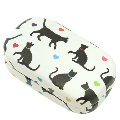 Cat Lovers Black Cat Contact Lens Case Storage  With Mirror Designs Vary