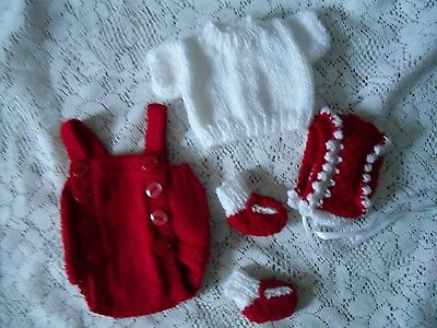 """Doll Clothes Hand-knit White-red Set 4 pc Fits 11"""" to 13"""" Composition Baby Dolls"""
