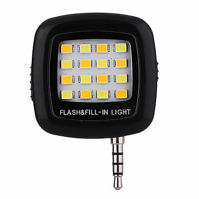 Portable Selfie 16 LED Flash Light Lamp For iPhone/Samsung -Black