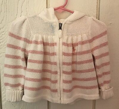 Ralph Lauren Girl Size 12 Months Pink White Striped Zip Hood Cardigan Sweater